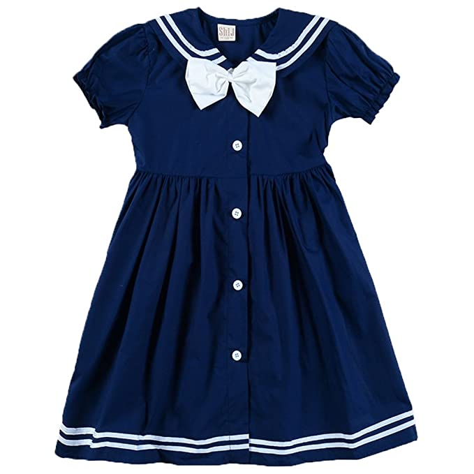 1930s Childrens Fashion: Girls, Boys, Toddler, Baby Costumes Frogwill® Girls Sailor Style Dress Lapel Navy Cotton Dress With Big Bow Tie $14.99 AT vintagedancer.com