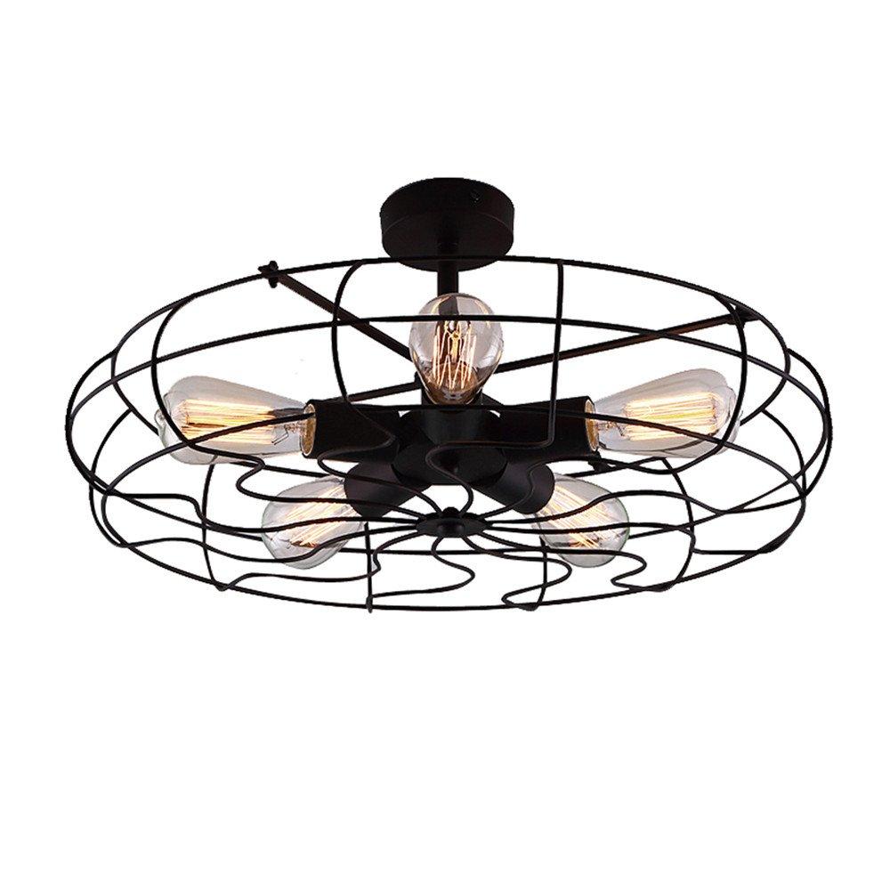BAYCHEER HL371436 Industrial Vintage style 110V Semi Flush Mount Ceiling Light Metal Hanging Fixture Pendant lighting for indoor, use 5 E26 Light Bulbs, Black by BAYCHEER (Image #2)