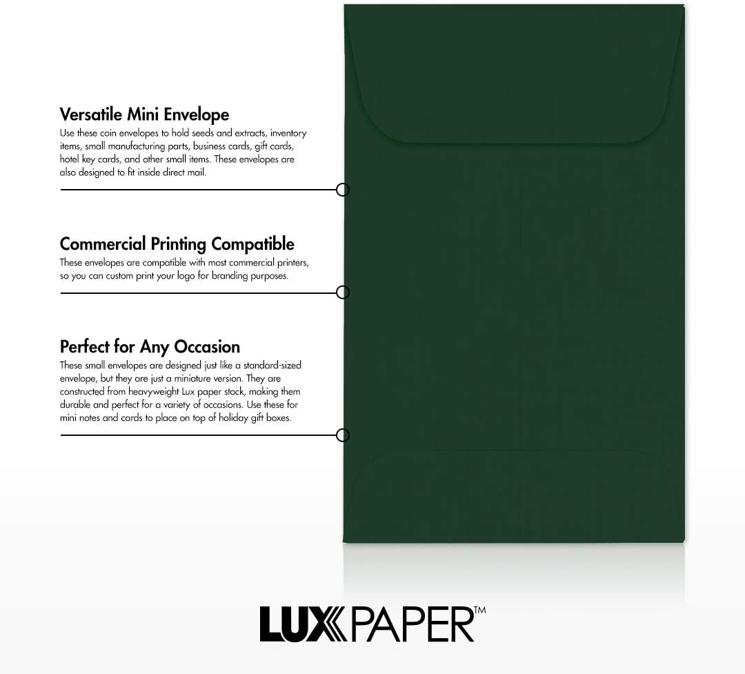 Green 50 Pack Coin Green Linen Envelope Size 2 1//4 x 3 1//2 Small Inventory Items LUXPaper #1 Coin Envelope for 2 x 3 Card in 80lb w//Moistenable Glue Stamps