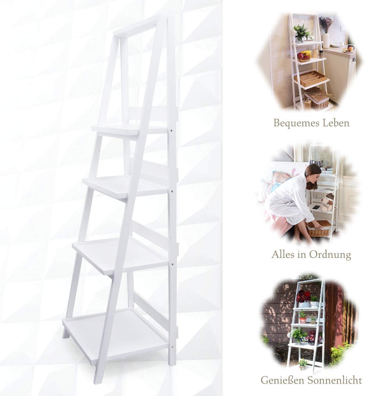 Leiterregal weiß ohne Bohren Blumentreppe- Regal klappbar aus Holz