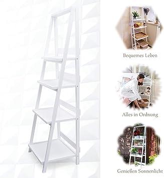 Estantería de escalera blanca sin taladrar, estantería plegable de ...