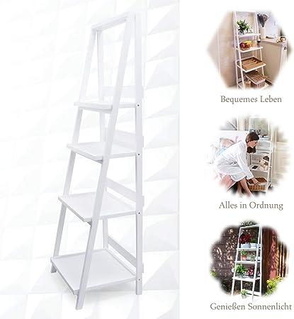 Estantería de escalera blanca sin taladrar, estantería plegable de madera, estilo de vida minimalista para interior, cocina, salón, jardín: Amazon.es: Bricolaje y herramientas