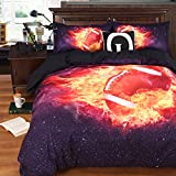 Alicemall 3D Rugby Bedding Super Cool American Football on Fire Printed Black 4-Piece Duvet Cover Set, Full Size College Bedding, No Comforters (Full, Fire Rugby)