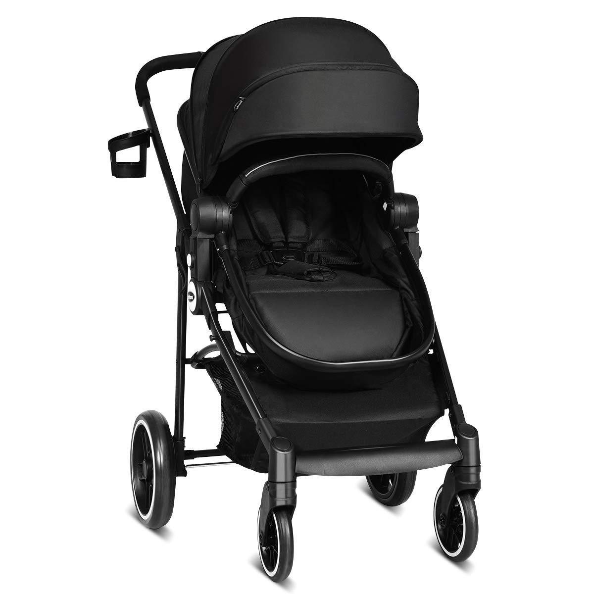 INFANS 2 in 1 Baby Stroller, High Landscape Infant Stroller Reversible Bassinet Pram, Foldable Pushchair with Adjustable Canopy, Storage Basket, Cup Holder, Suspension Wheels Black