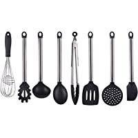 SAVORLIVING Silicone Cooking Utensils 8 Pieces with Stainless Steel Handle, Kitchen Utensils including Turner, Spaghetti Server, Skimmer, Serving Spoon, Spatula, Soup Ladle, Food Tong, Whisk