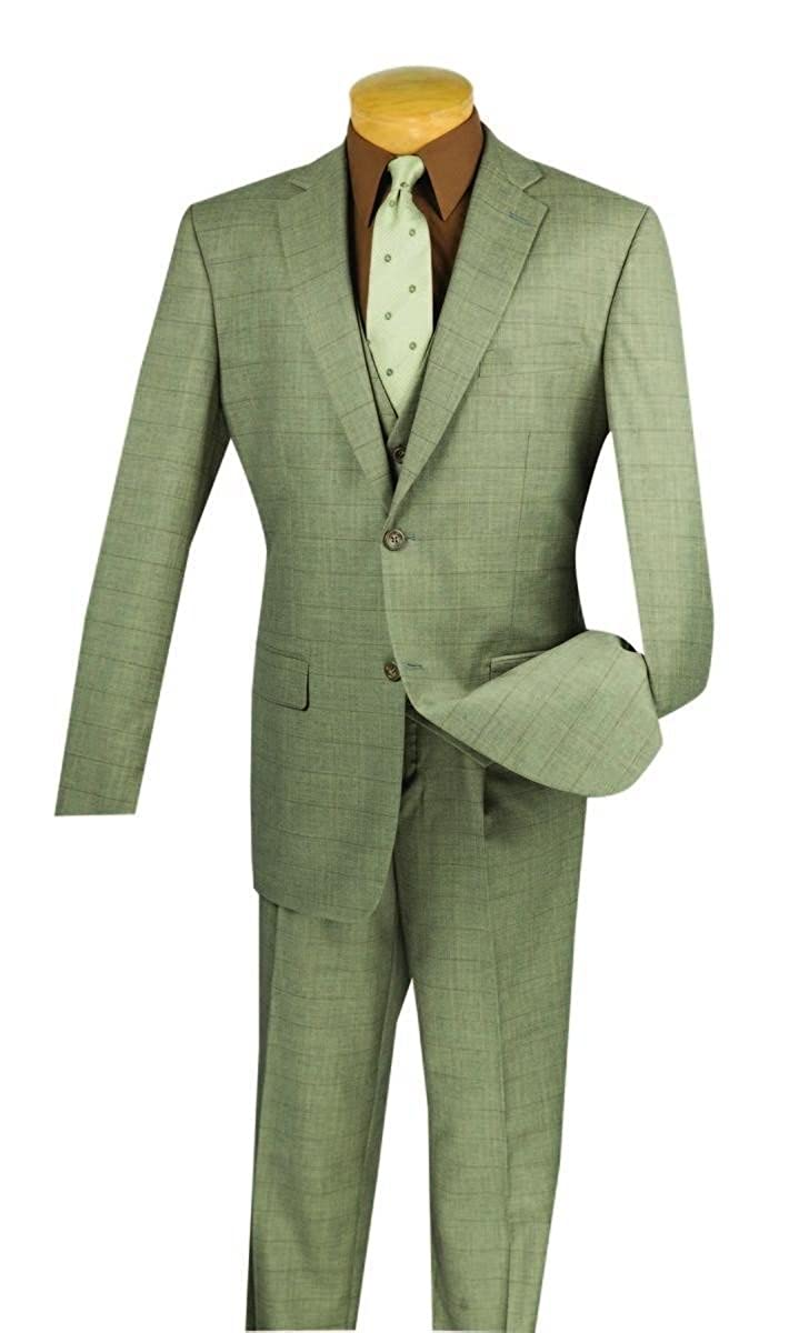 1920s Mens Suits | Gatsby, Gangster, Peaky Blinders VINCI Mens Window Pane 2 Button Single Breasted Classic Fit Suit W/Vest V2RW-11 $110.99 AT vintagedancer.com