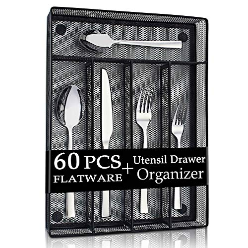 LIANYU 60-Piece Silverware Flatware Set with Organizer Tray, Stainless Steel Square Cutlery Set for 12, Reusable Eating Utensils Tableware, Dishwasher Safe