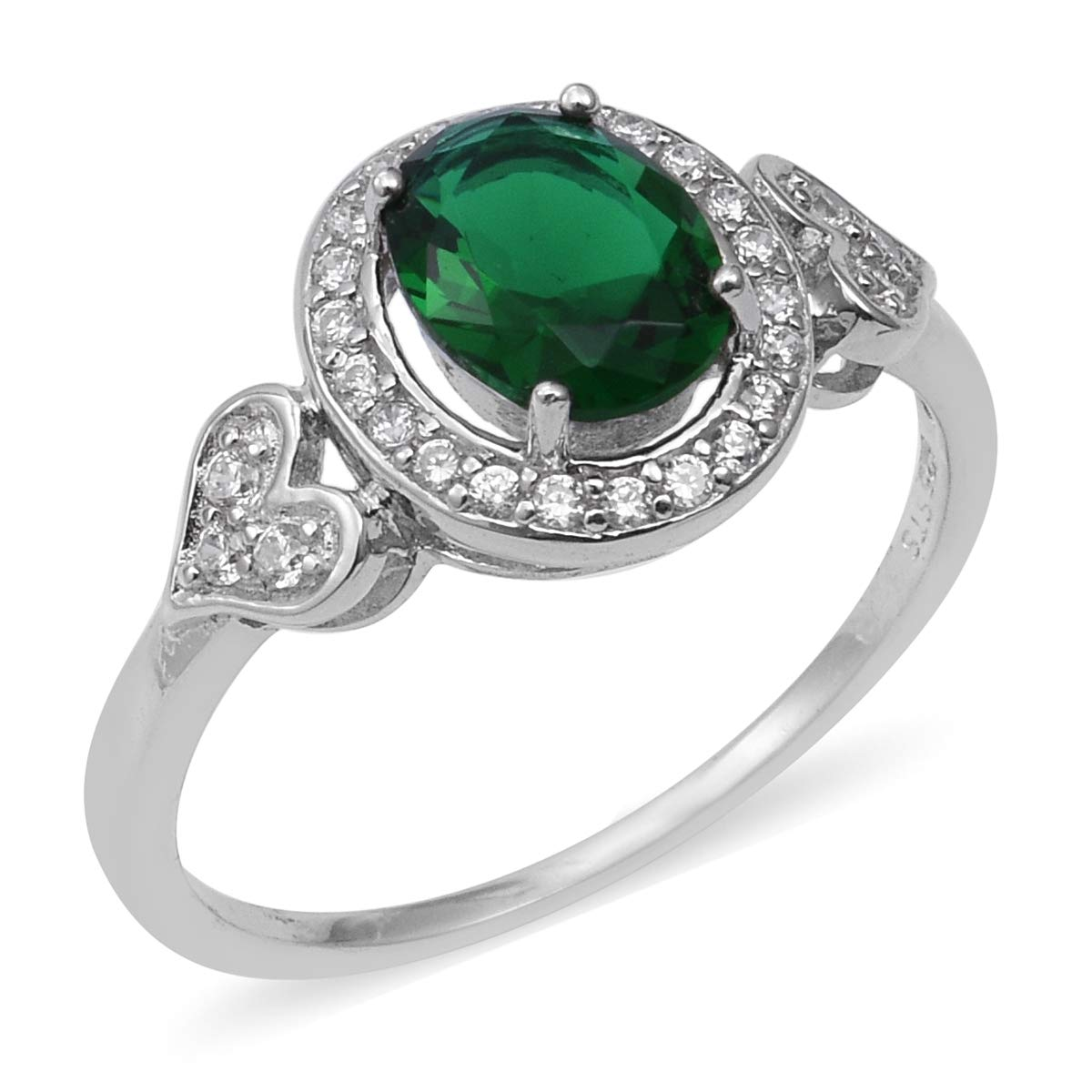 Halo Ring 925 Sterling Silver Cubic Zircon Green Cubic Zirconia CZ Jewelry for Women Size 7 Ct 2.2