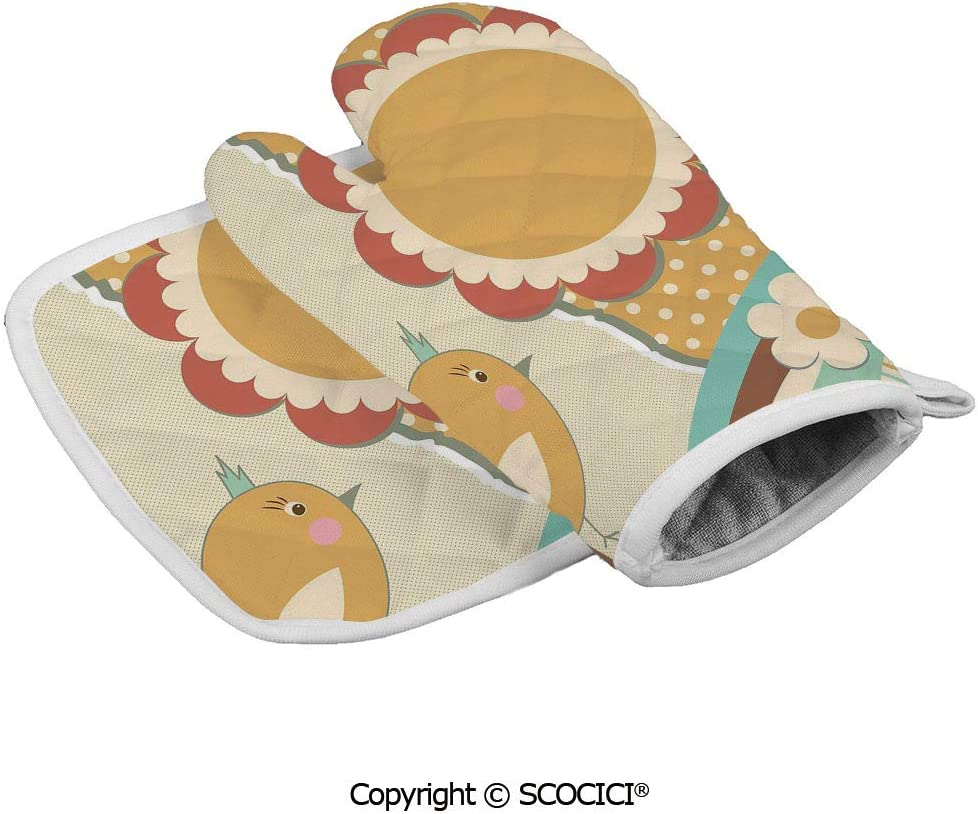 SCOCICI Baking Anti-Hot Glove Cute Little Bird with a Giant Flower on a Dotted Background Retro Inspired Oven Microwave Mitts Pot with Square Mat