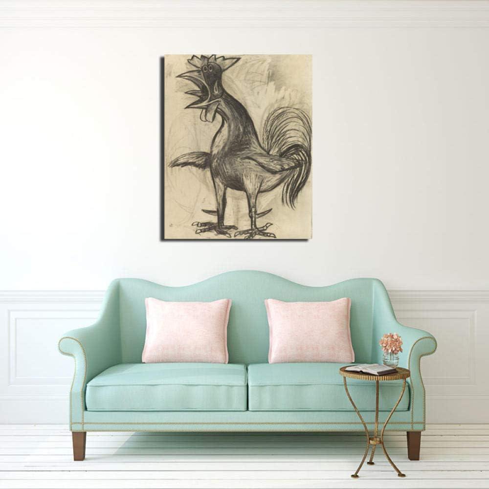Chihie Pablo Picasso Der Hahn Leinwand Malerei Drucken Wohnzimmer Dekoration Moderne Wandkunst /Ölgem/älde Poster Pictures 50x60cm Kein Rahmen