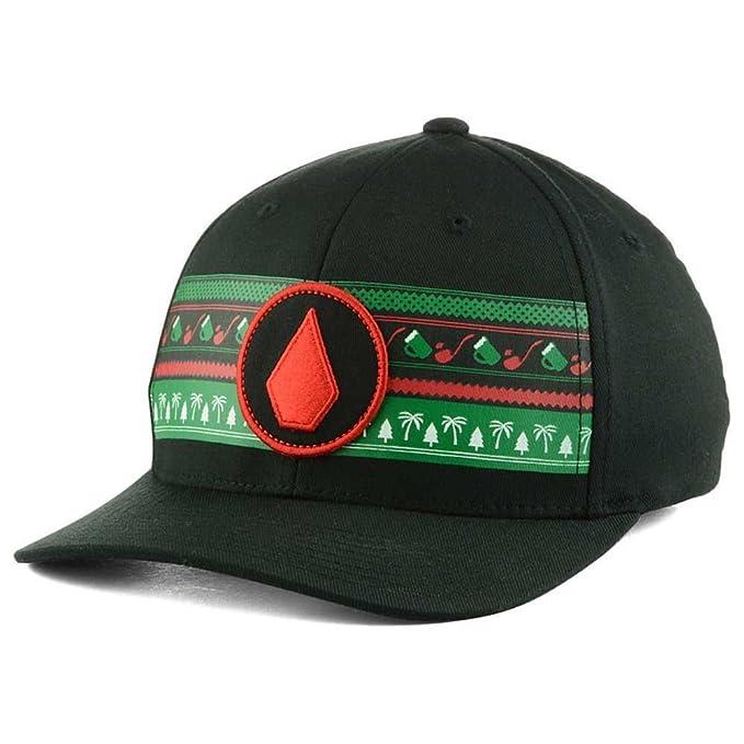 7f877f3d8 Amazon.com: Volcom Head Spin Curved Brim Black/Red/Green Flexfit Hat ...