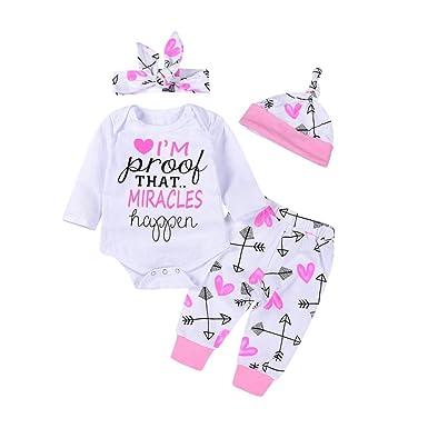 adfce53269e Xshuai for 0-24 Months Kids 4Pcs Fashion Cute Newborn Infant Toddler Baby  Girl Boy Letter Arrow Rompers Jumpsuit+Pants+Cap+Headbands Outfits Clothes  Set  ...