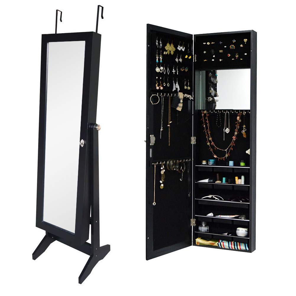 Organizedlife Black Free Standing Wall/Door-Mount Mirror Jewelry Armoire Cabinet For Dressing Room­ LTD GLD14739BK