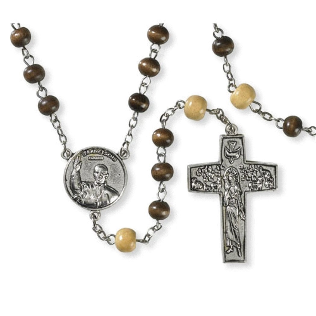 Pope Francis Wood Rosary with Good Shepherd Cross and Blessed Prayer for the Pope Holy Card (Brown)