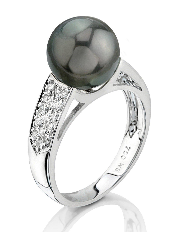 9mm Tahitian South Sea Cultured Pearl & Diamond Alexa Ring in 14K Gold