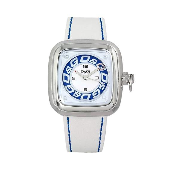 D&G DW0182 - Reloj para hombre con correa de piel, color blanco/gris