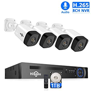 POE Security Camera System,4Pcs 1080P PoE Audio IP Cameras+Expandable 8CH 4MP/4CH 5MP NVR,Night Vision,10ms Delay,IP66 Waterproof,Onvif,Remote Viewing,Motion Alarm,24/7 Record,H.265+,Built-in 1TB HDD