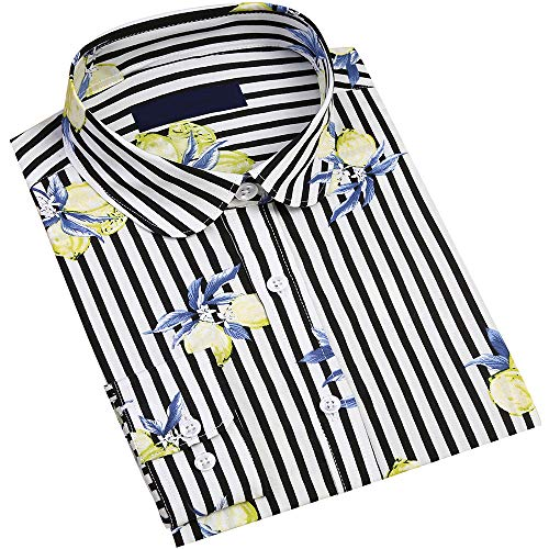 DOKKIA Women's Tops Tropical Casual Blouses Long Sleeve Work Button Up Dress Beach Aloha Hawaiian Shirts (Lemon Striped Black Yellow, -