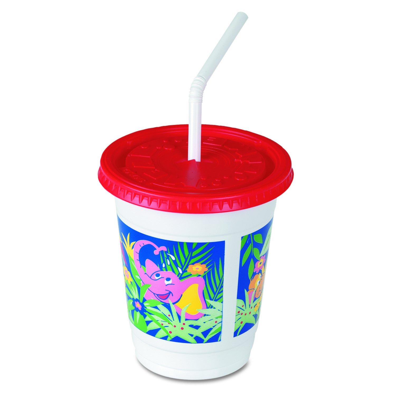 Solo CC12C-J5145 12 oz Jungle - Kids Plastic Cup/lid/straw (Case of 250 Sets)
