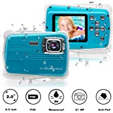 """[Updated 2019 Model] ISHARE Kids Camera, Waterproof Kids Camera Best Gifts for Girls/Boys 21MP HD Underwater Digital Camera with 2.0"""" LCD, 8 X Digital Zoom, Flash and Mic (Blue)."""