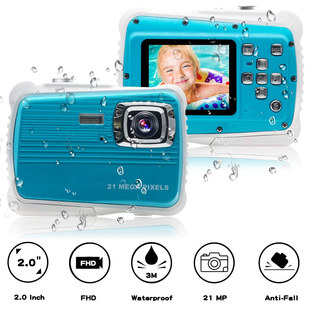 [Updated 2019 Model] ISHARE Kids Camera, Waterproof Kids Camera Best Gifts for Girls/Boys 21MP HD Underwater Digital Camera with 2.0'' LCD, 8 X Digital Zoom, Flash and Mic (Blue)... by ISHARE (Image #1)