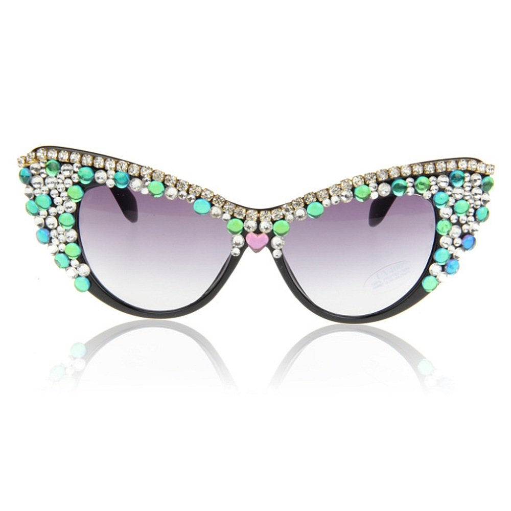 03c8a102c9cd Peggy Gu High Class Handmade Colorful Crystal Cat Eyes Lady s Polarized  Sunglasses Semi-Rimless Crystal Beach Sunglasses For Summer  Amazon.co.uk   Kitchen   ...