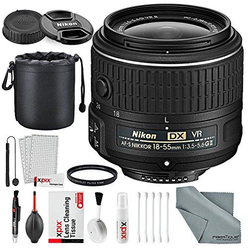 Nikon AF-S DX NIKKOR 18-55mm f/3.5-5.6G VRII Lens Bundle wit