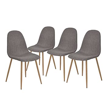 GreenForest Dining Side Chairs Eames Style Strong Metal Legs Fabric Cushion Seat And Back For