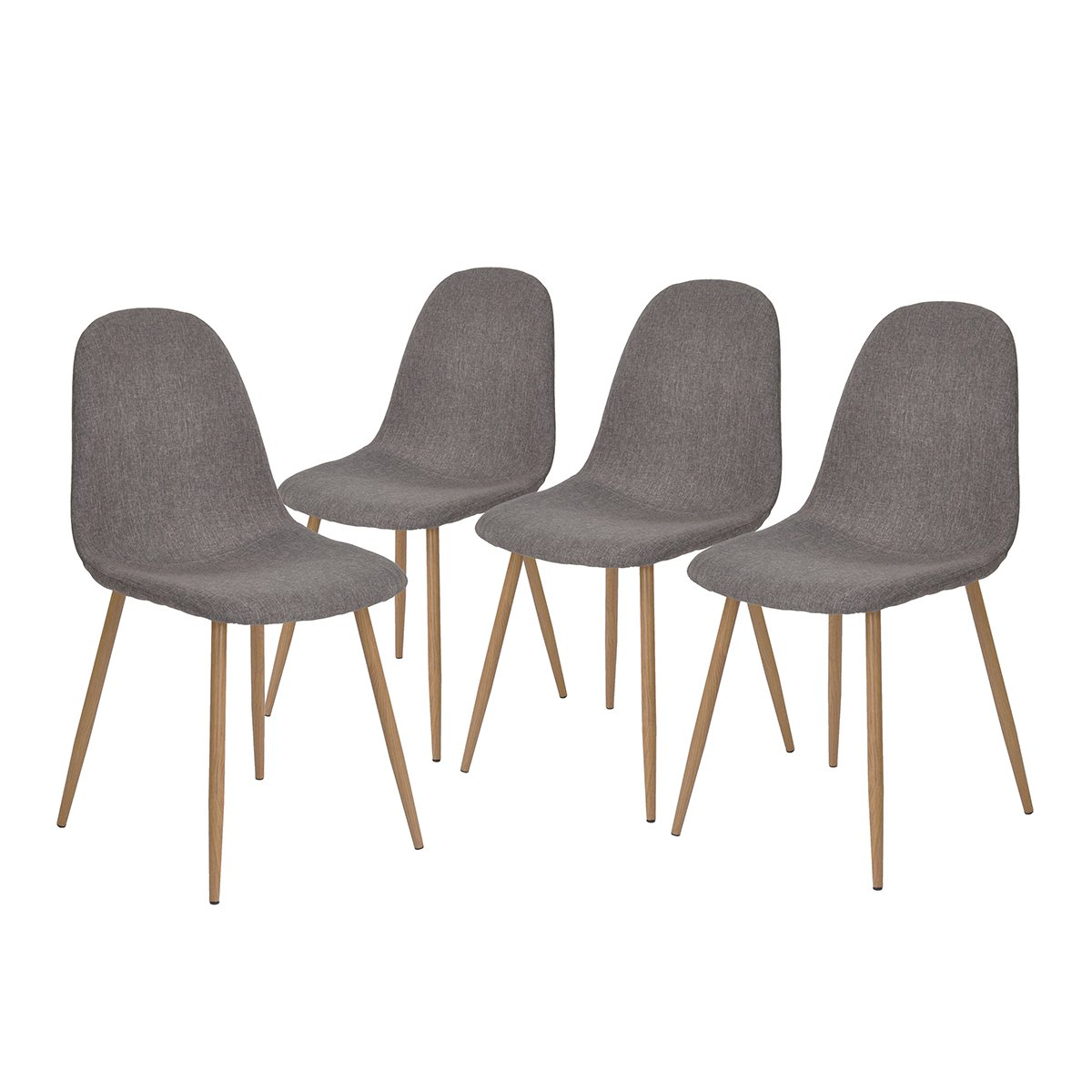 GreenForest Dining Side Chairs Strong Metal Legs Fabric Cushion Seat and Back for Dining Room Chairs Set of 4,Gray