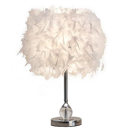 DUOER home Lámpara de Mesa de Plumas Vintage Elegante mesita ...