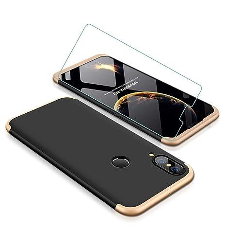 Coque Huawei P20 Lite Golden Noir 360 degrés Très Mince Tout Inclus Protection 3 dans 1