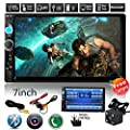 """Rear View Camera + CarcarTong 7"""" Double Din Touchscreen In Dash Stereo Car Receiver Audio Video Player Bluetooth FM Radio Mp3/TF/USB/AUX-in/Steering wheel controls + Remote Control"""
