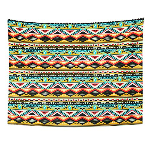 Emvency Tapestry Wall Hanging Pink Aztec Ethnic Pattern Navajo Indian Mexican Abstract Ancient Antique Cotton 60