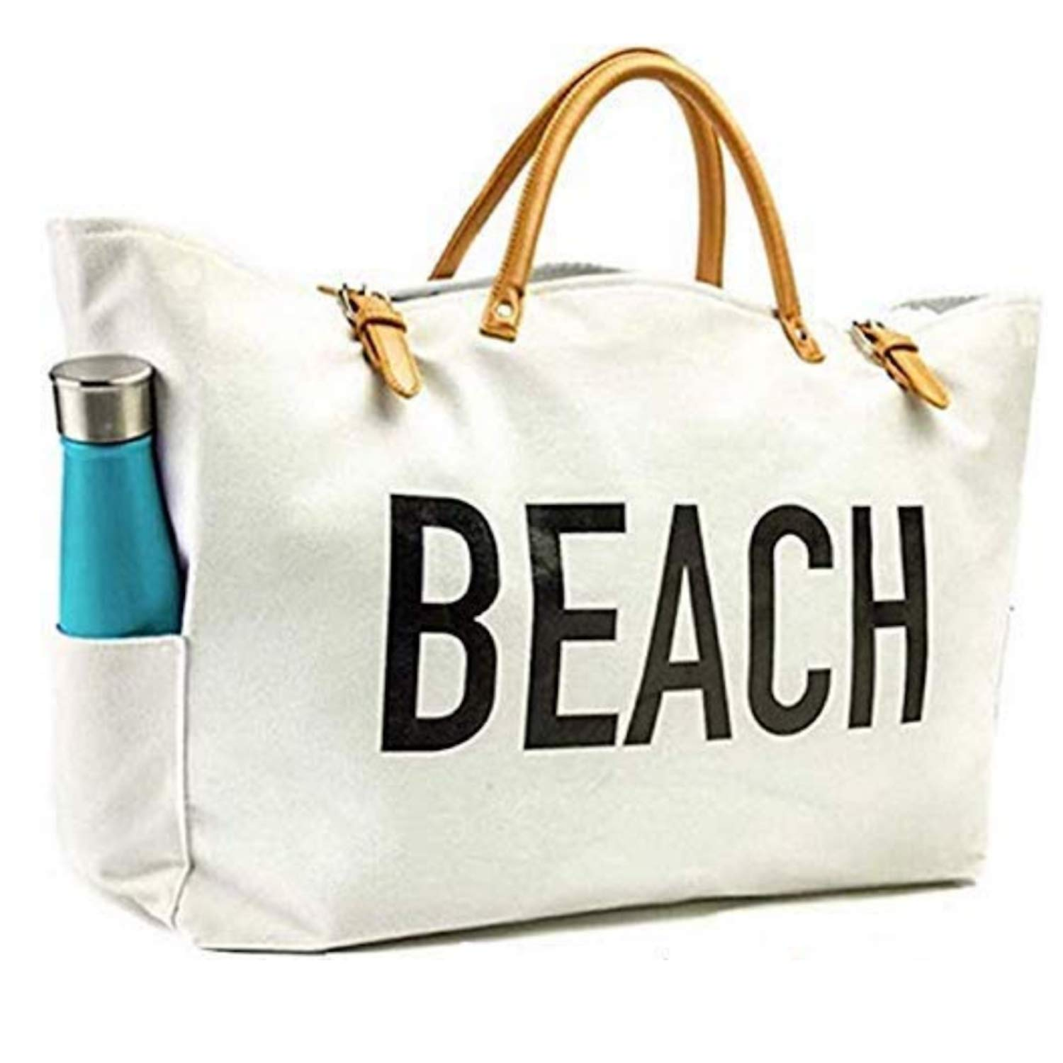 KEHO Fashion Beach Bag & Travel Tote, Large & Roomy, Waterproof Lining, Multiple Pockets (White Canvas)