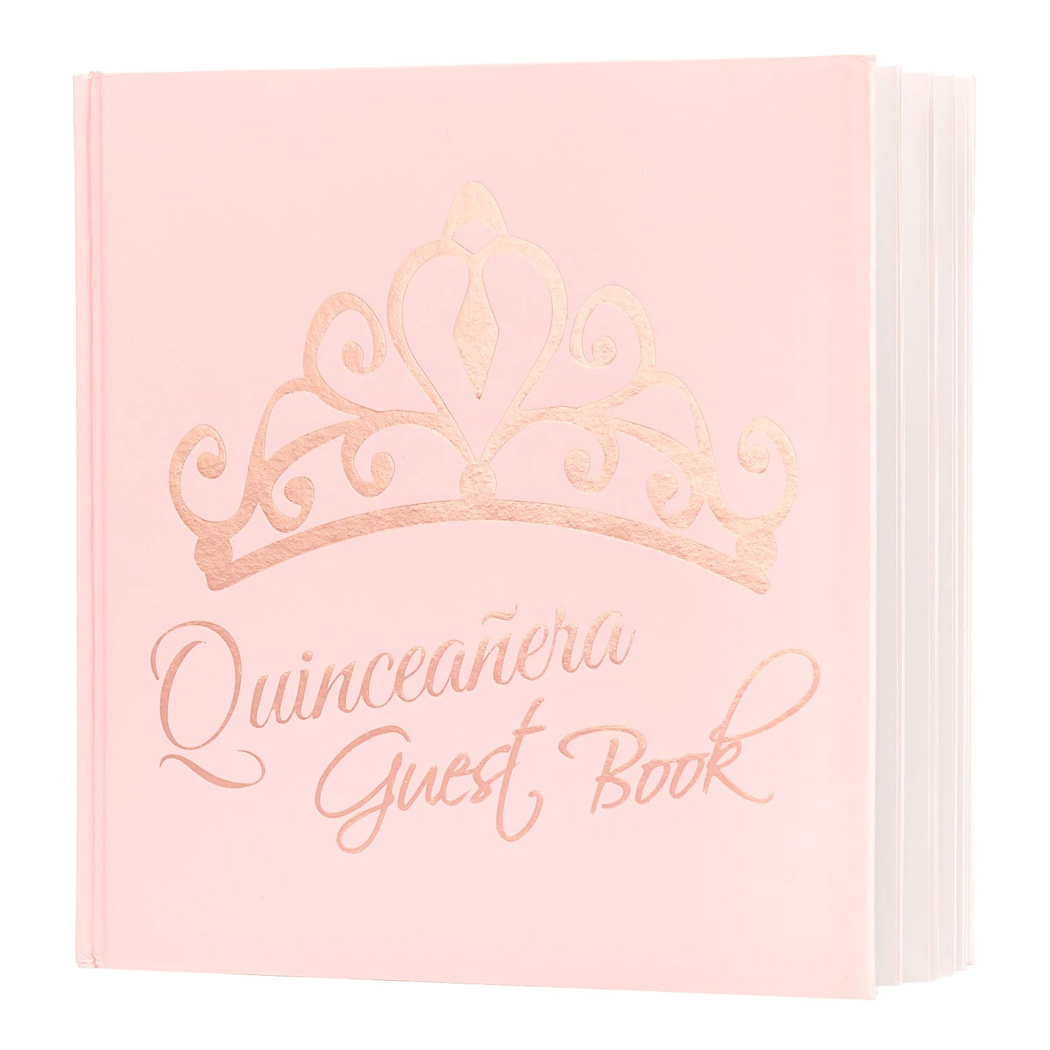 Calculs Polaroid Quinceanera Guest Book 8.5'' Square 15th Birthday Guest Registry Books, Pink Cover, Rose Gold Foil Stamping, Blank White Pages by Calculs