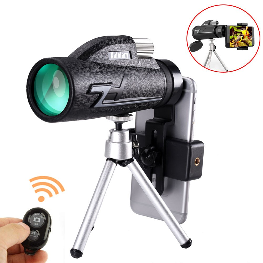 Monocular Telescope, 16x50 High Power BAK4 Prism FMC Lens with Quick Phone Mount Adapter and Tripod, Waterproof, Low Night Vision Focus for Outdoor Bird Watching, Hunting, Camping, Travelling, Hiking by Kalolary