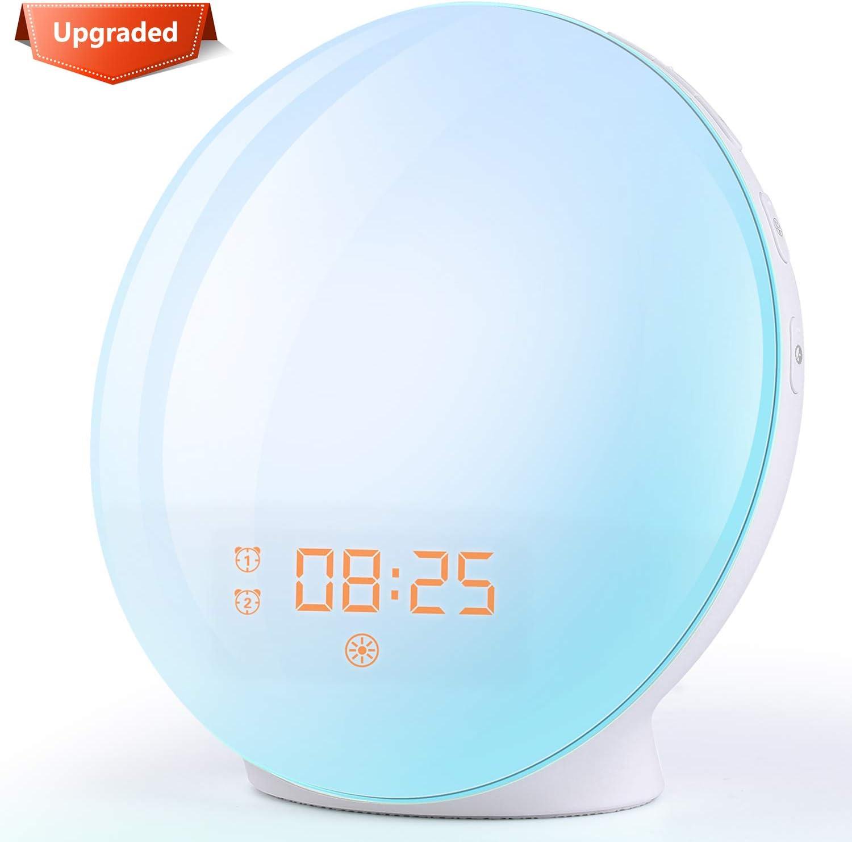 Amazon.com: Wake Up Light Sunrise Alarm Clock, 7 Colors Bedside ...