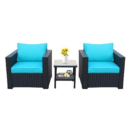 7c9aa6c919f3bc Amazon.com   3-Piece Patio Wicker Conversation Furniture Set ...