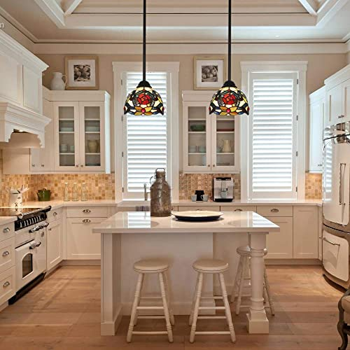 VINLUZ Lighting Tiffany Style 1-Light Art Victorian Mini Pendant Lights Traditional Vintage Hanging Ceiling Light Fixtures Dining Room Bedroom Chandelier Lights 7inch Glass Shaded