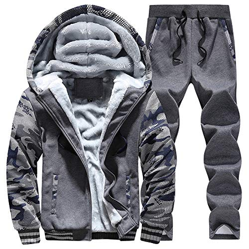 (manluo Men's Winter Sweatsuits Camo Sleeves Tracksuits Hoodies Warm Sports Suits)