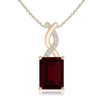 Angara Solitaire Garnet Necklace for Women in Platinum n3UcA