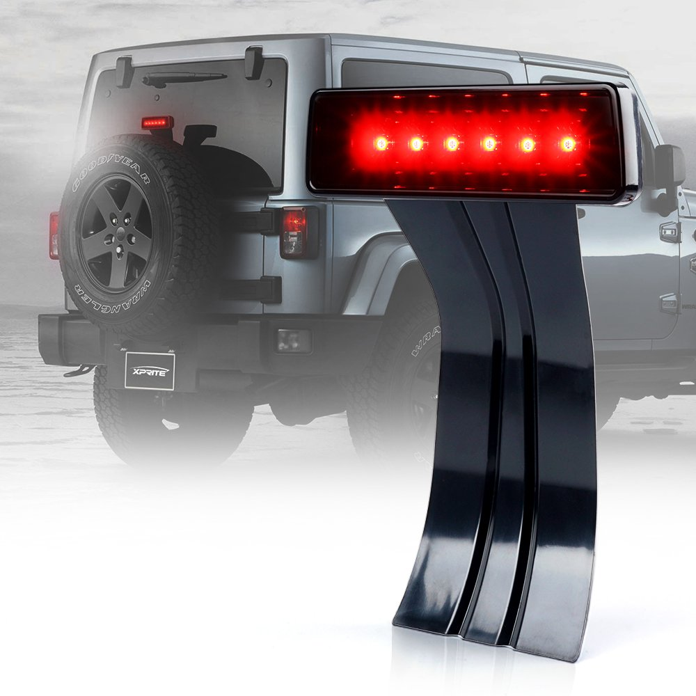 Xprite LED Third Brake Lights Tail Lights w/Smoke Lens High Mount Stop Lights for 2007-2018 Jeep Wrangler & Wrangler Unlimited JK BL-JEEP-JK-SMK-G1-2