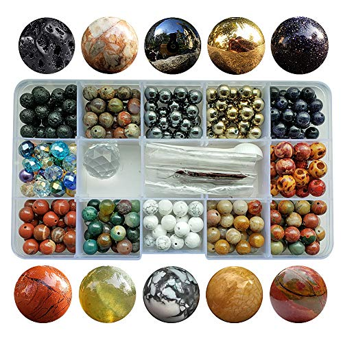 Howlite Natural Gemstone Beads - Chengmu 8mm Stone Beads Kit for Jewelry Making 230pcs Natural Gemstone Agate White Howlite Black Lava Hematite Assorted Color Round Loose Beads Set for Bracelet Necklace With Accessories Tools Color 3