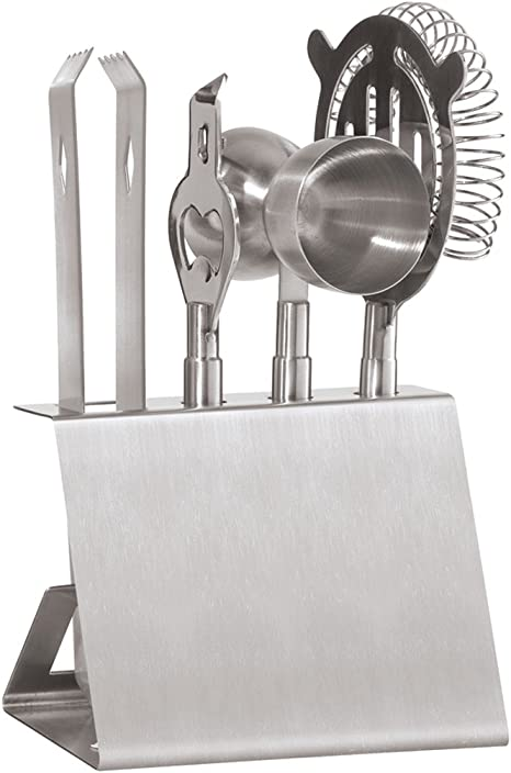 Amazon Com Oggi Stainless Steel 5 Piece Bar Tool Set With Stand Barware Sets Kitchen Dining