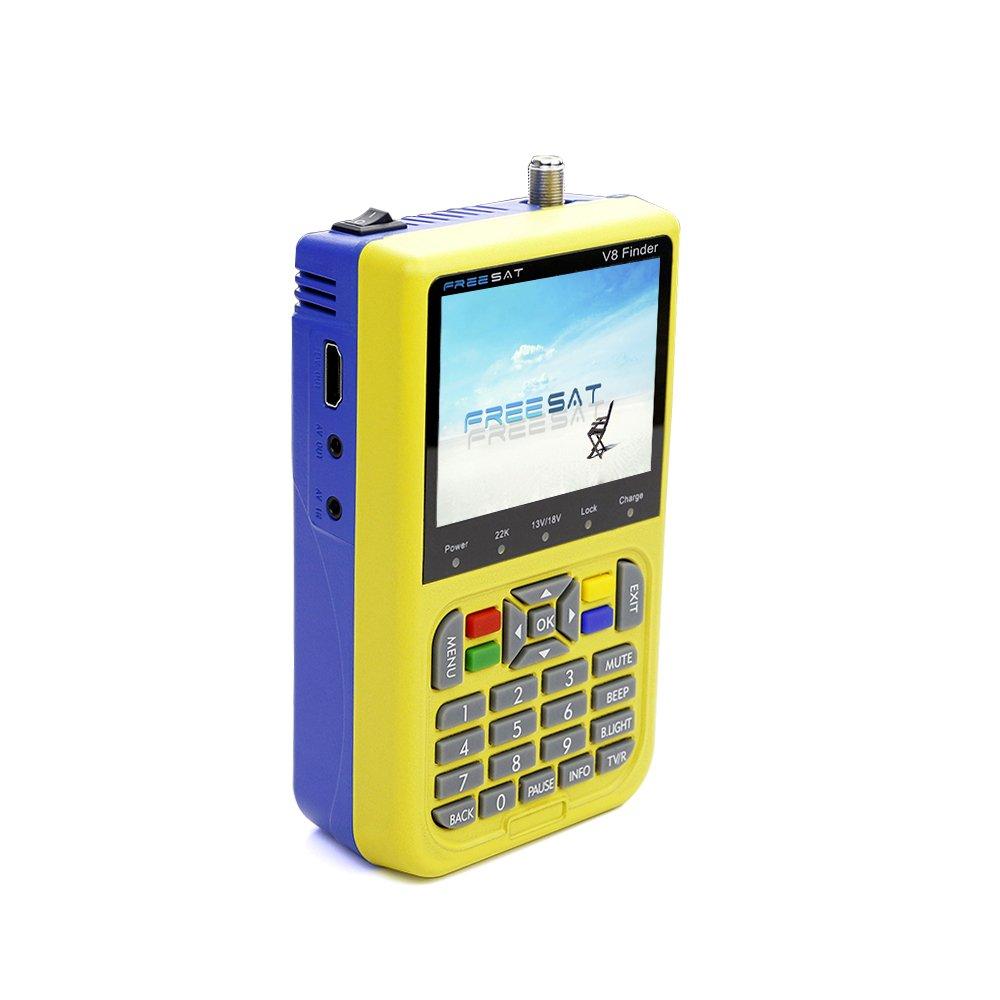 Docooler Free SAT Finder TV Signal Finder Meter V8 DVB-S/S2 HD Digital Meter 3.5 Inch LCD Dispaly 3000mAh Battery US Plug