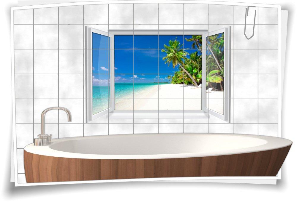Fliesenaufkleber Fliesenbild Fliesen Strand Meer Sand SPA Deko Aufkleber Bad WC Dekoration Badezimmer, 135x90cm, 15x20cm (BxH)