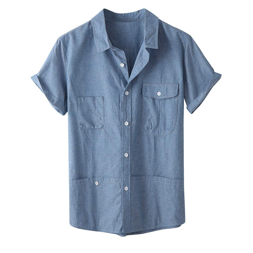 Mens Short Sleeve Shirts Linen Cotton Button Down Fishing Tees Spread Collar Plain Summer Shirts Work Shirt Blue