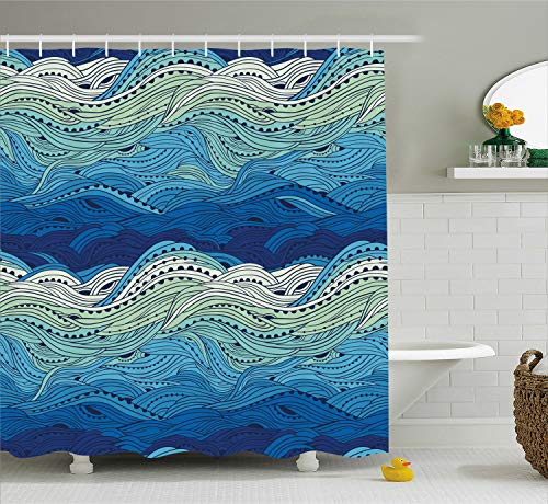 Ambesonne Aquatic Shower Curtain by, Conceptual Ocean Themed Artwork Hand Drawn Waves Seascape Maritime, Fabric Bathroom Decor Set with Hooks, 70 Inches, Blue Light Blue Mint ()