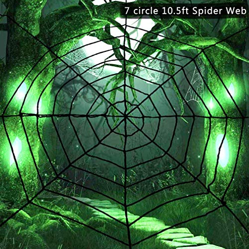 VeMee Halloween Spider Web, Black Stretching Spider Web Creepy Spider Web Party Cobweb Halloween Decorations 10.5FT