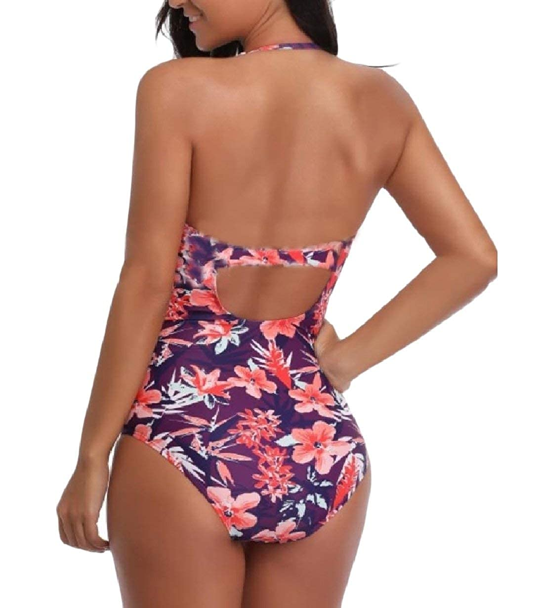 b12b7a442fe Amazon.com  Zimaes-Women Painting Quick Dry Plus Size High Neck Monokini  Swimwear  Clothing